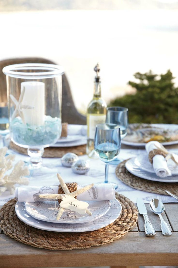 beach table settings beachy kitchen table Beach Wedding Playbook