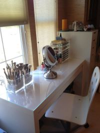 IKEA Malm Dressing Table - used as makeup vanity. Chair is ...