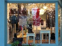 Dmonaco Designs boutique, window display, holiday fashions