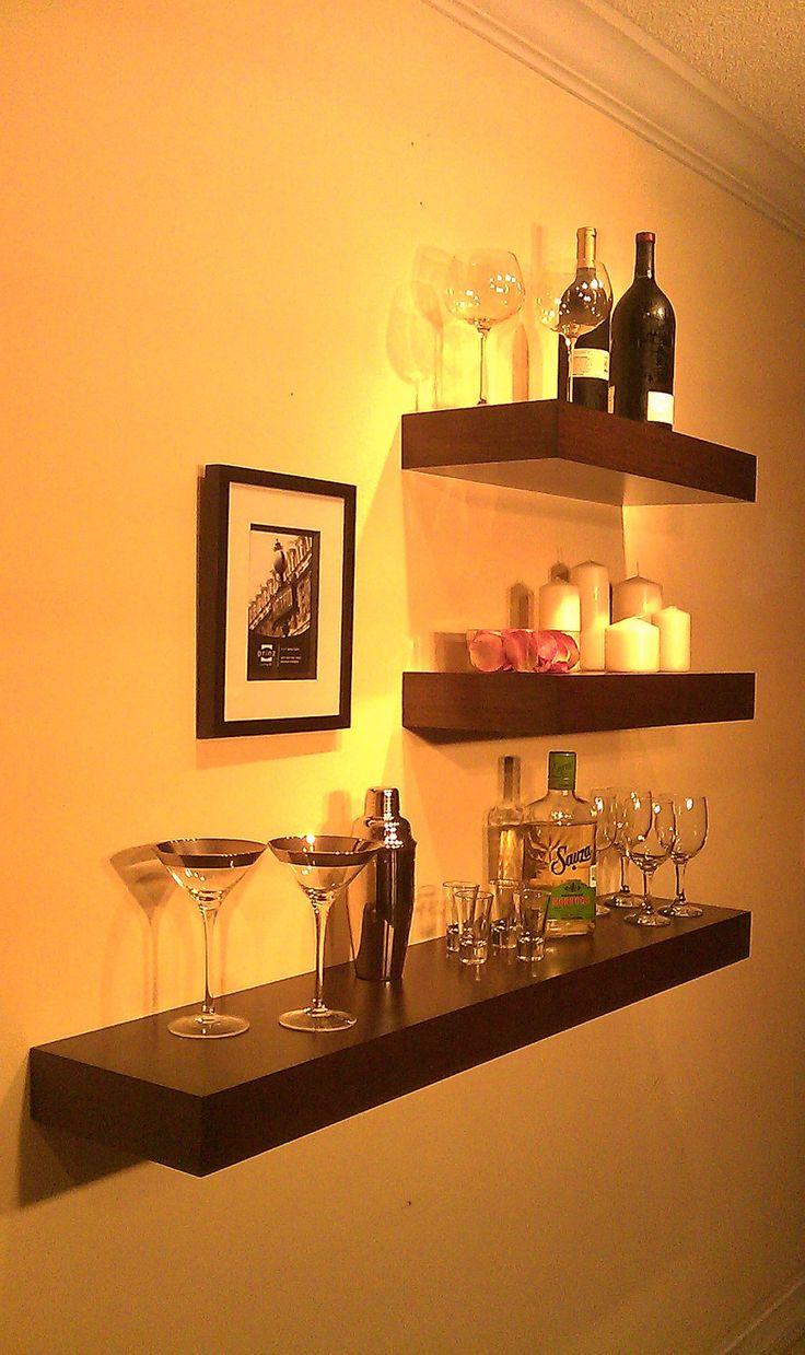 Floating Wood Shelves Wall Shelf Walnut Color 48quot Long