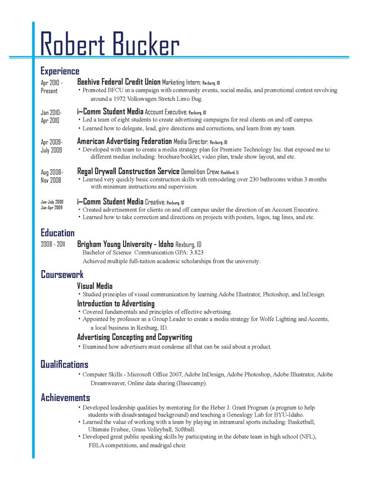 lay out of a resume
