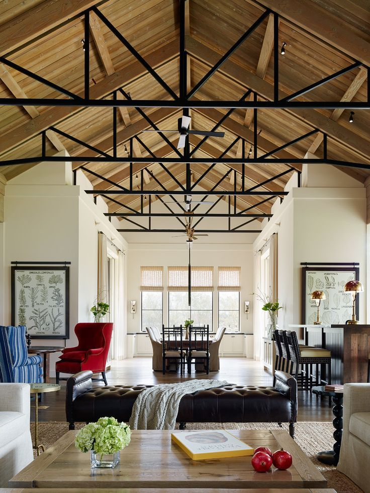 Living Room Furniture Covers Amazing High, Exposed Ceilings With Black Metal-and-wood