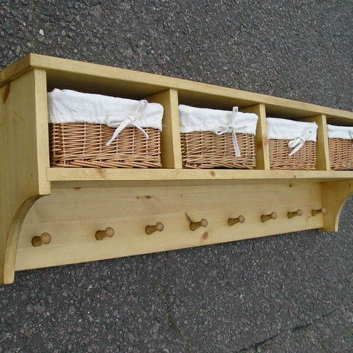 Shaker Style Pine Coat Rack With Shelf 4 Baskets 1120mm