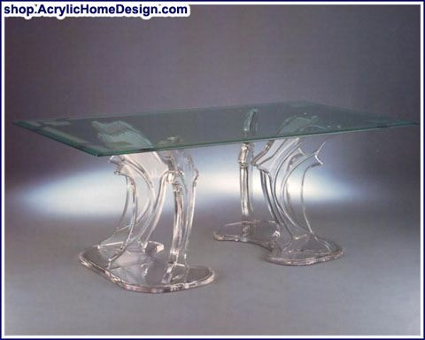 Acrylic Dolphin Table Base Glass Topped Dining Table