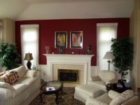 Burgundy accent wall in living room   red interiors ...