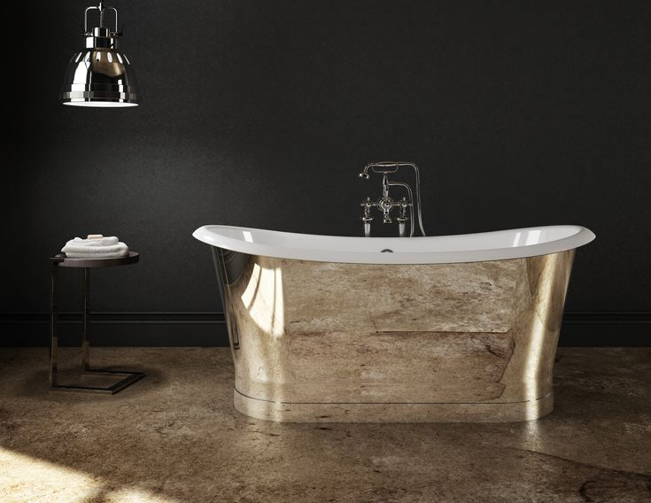 Baignoire Discount Cast Iron Freestanding Bathtub - Mirror Finish Stainless