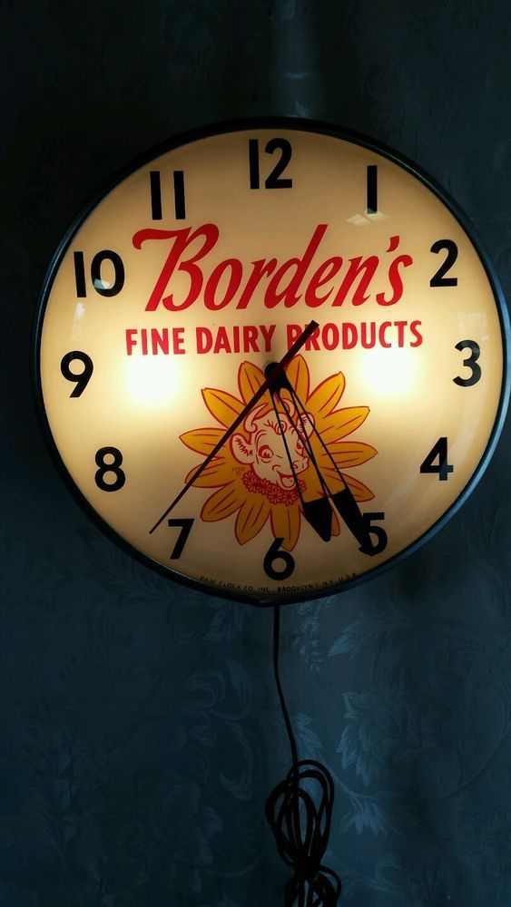 Retro Wall Clock Borden Advertising Pam Clock • Elsie The Cow • Fine Dairy