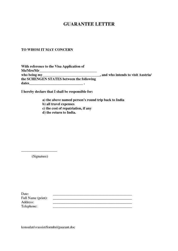letter financial guarantee letter for visa sample