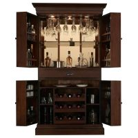 Arianna Brown Stain Home Bar Wine Cabinet | Hardware ...