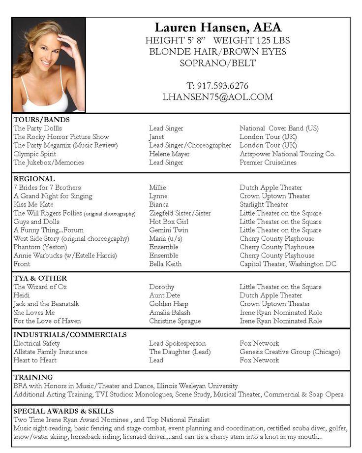 Actors Resume Template Musical Theatre Resume Examples Acting - musical theatre resume examples