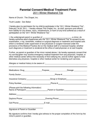 Notarized Medical Consent Form For Minor   Bagnas - parental consent form for medical treatment ...