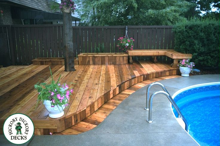 Wood Deck Around Inground Pool Google Search Pool