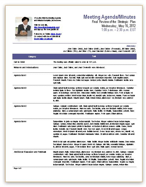 business meeting minutes template - meeting summary template