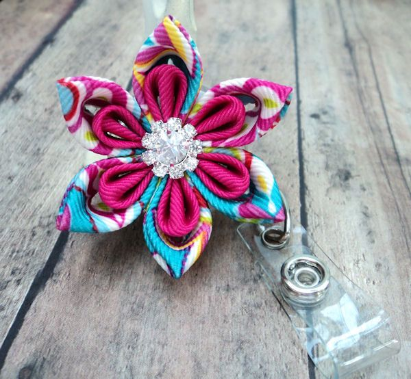 Retractable Id Badge Holder Bright Floral Ribbon Flower