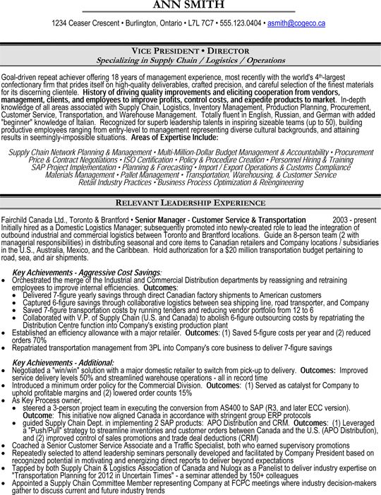 resume templates for supply chain management
