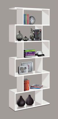 White Gloss Ziggy Bookcase Room Divider Shelf Shelving ...