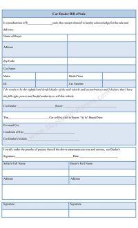 Download sample Car Dealer Bill of Sale template is ...