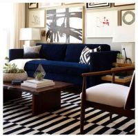Navy couch and striped rug | chez moi | Pinterest | Navy ...