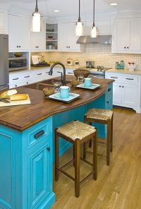 Photos: Pop Color In Your Home | Neutral Kitchen, Islands ...