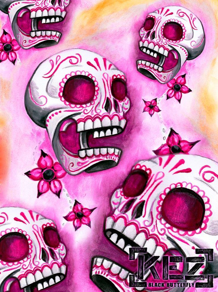 Skeleton Pattern Wallpaper Cute Download Pink Sugar Skull Wallpaper Gallery