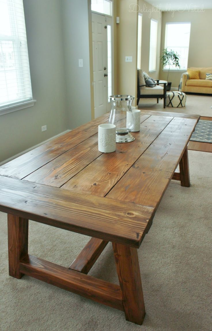 farm table diy country kitchen tables DIY Farmhouse Table Restoration Hardware Knockoff