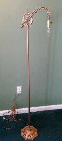 Antique Cast Iron Floor Lamp Bridge Lamp Ornate Arm   eBay ...