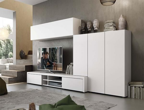 Modern Natural Wall Storage System With Cabinets And 2