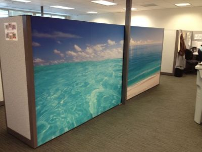 Ocean Mural Wallpaper from Dream Cubicle   Makeovers by Dream Cubicle   Pinterest   Small office ...