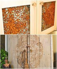 20 DIY Cabinet Door Makeovers with Furniture Stencils ...