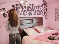 pink leopard wall - HOME decor - painting - bedroom   Vi's ...
