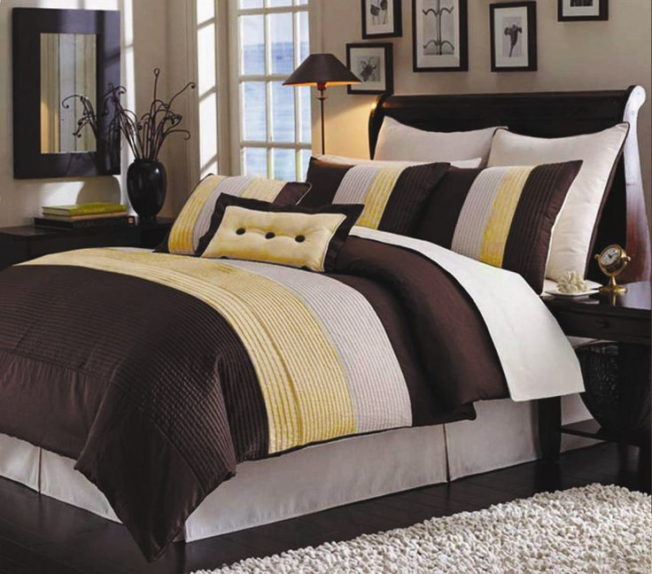 Yellow and brown bedspread pinterest brown