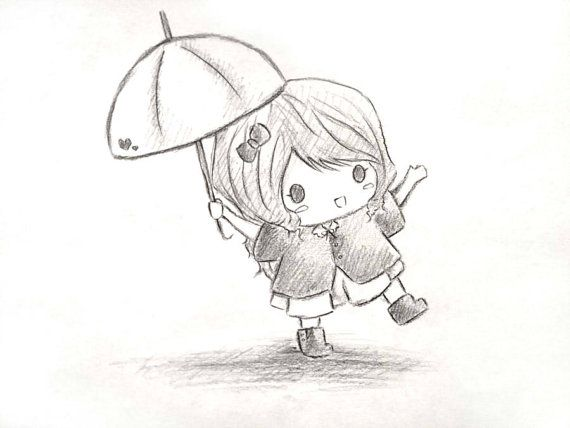 pencil sketch girl with umbrella girl with umbrella autocute girl drawing umbrella chibi original