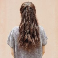 Fishtail Braid with Curls for medium to long hair ...