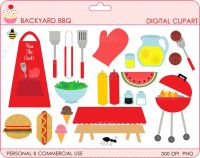 bbq clipart digital clip art outdoors summer - Backyard ...