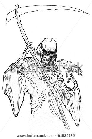 Steampung Girl Holding Skull Wallpaper Femal Grim Reaper Line Art Bing Images Coloring Pages
