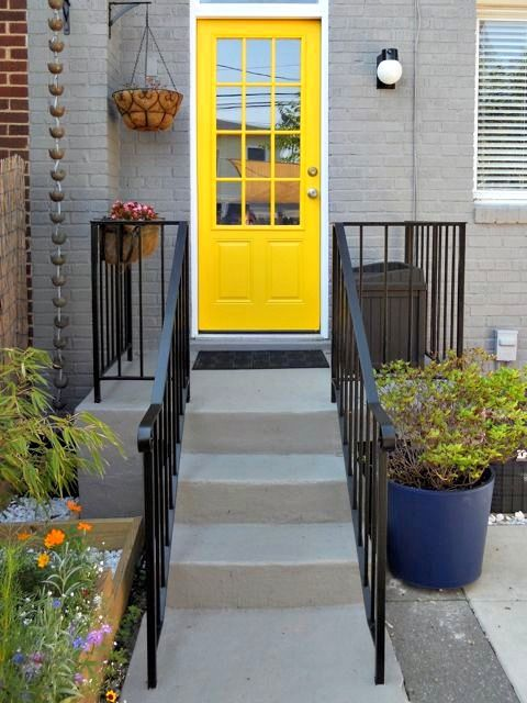 Painted grey brick yellow door sherwin williams classic