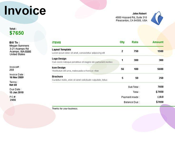 Invoice Template Graphic Design Freelance | Sample Resume For Job