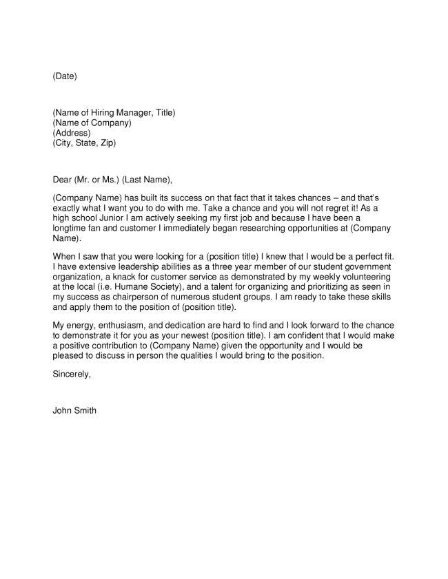 sample high school student cover letter - Fieldstation.co
