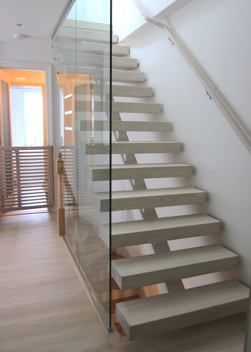 Open Staircase Open Riser Staircase With Glass Wall | Stairs, Interior