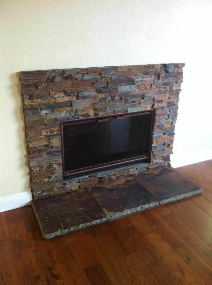 Sweet Stacked Slate fireplace