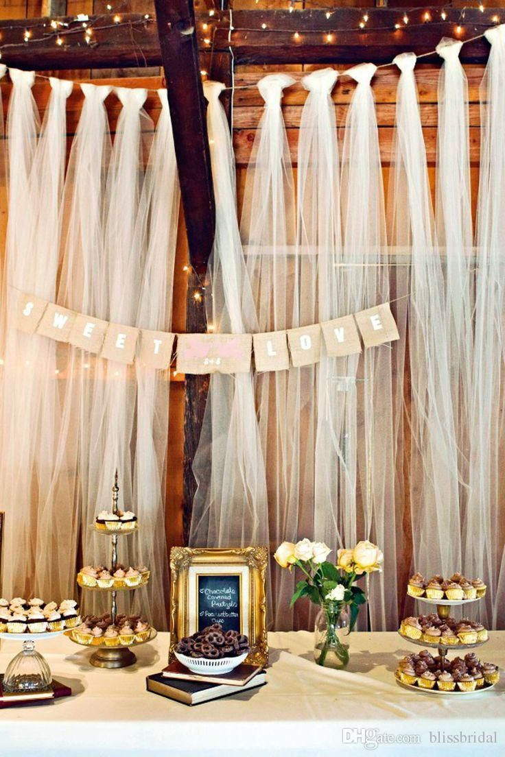 diy tulle wedding decorations wedding supplies Easy DIY tulle buffet backdrop wedding decoration