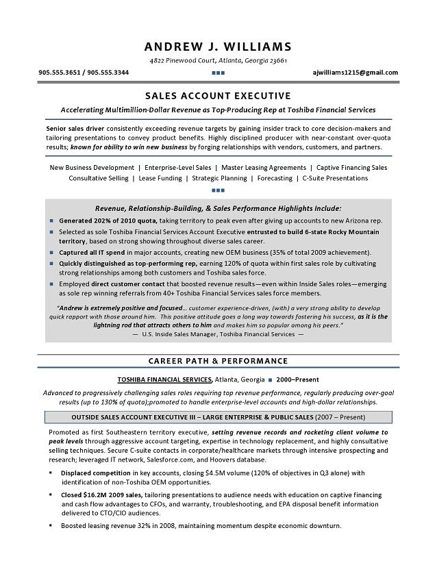 tech sales resume examples