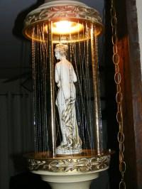 Vintage large hanging swag motion lamp mineral oil rain ...