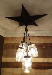 Details about Mason Jar Chandelier Barn Star - Country ...