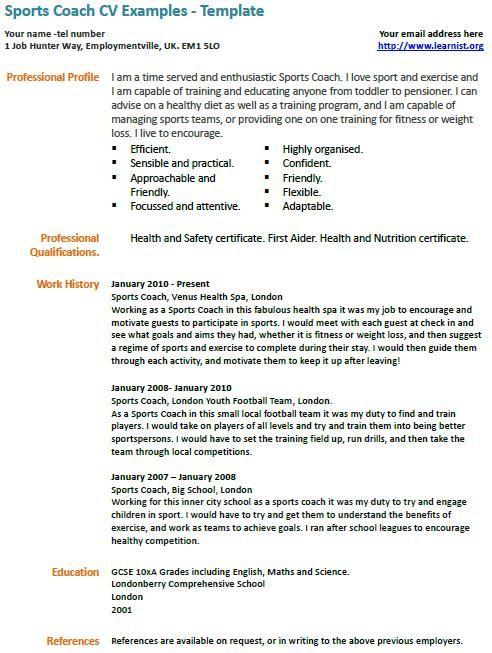 Online Cv Builder And Professional Resume Cv Maker Visualcv Sports Coach Cv Example Professional Pinterest Cv