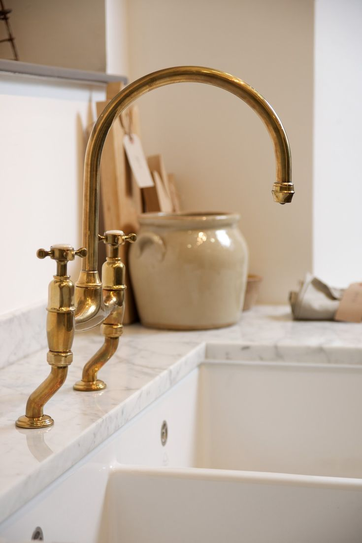 finishes unlacquered brass kitchen faucet Unlacquered Brass Faucet by Perrin and Rowe