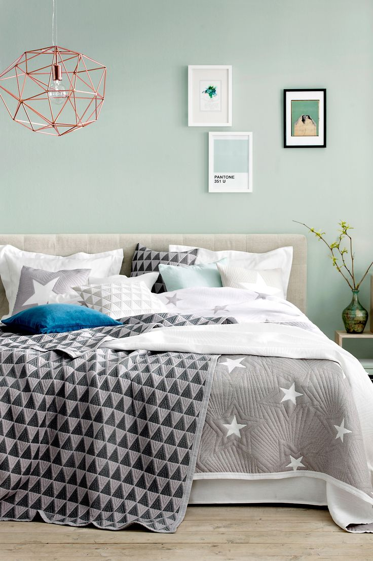 Mint watery blue green walls grey accents comfy bed i like