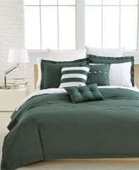 Lacoste Bedding, Solid Green Brushed Twill Comforter and