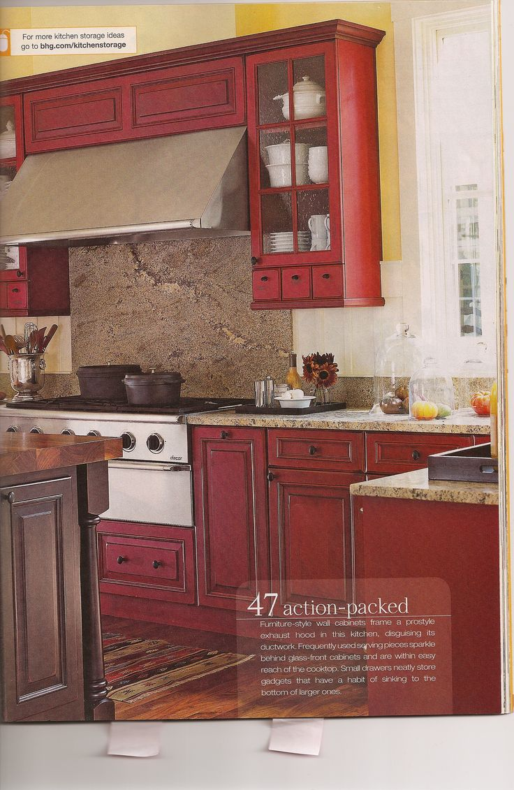 red kitchen cabinets red kitchen cabinets Antique Red Kitchen Cabinets
