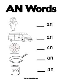 "Word Family ""AN"" Worksheet and coloring page. 